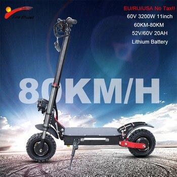 Patinete eléctrico 60V 3200w, rueda de Motor de 11 pulgadas, batería de litio de 20Ah, patinete eléctrico plegable para adulto, sin impuestos
