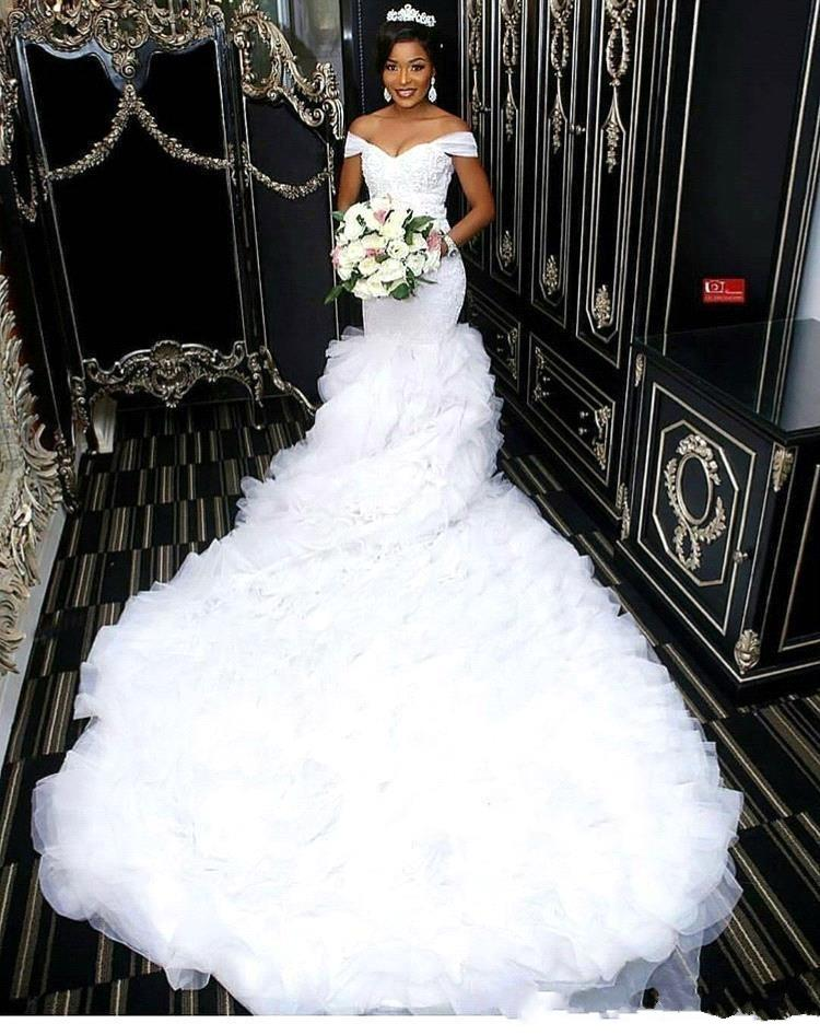 Off The Shoulder Beautiful Mermaid Wedding Dresses 2019 African Lace Bodice Long Train Bridal Gowns Custom Made