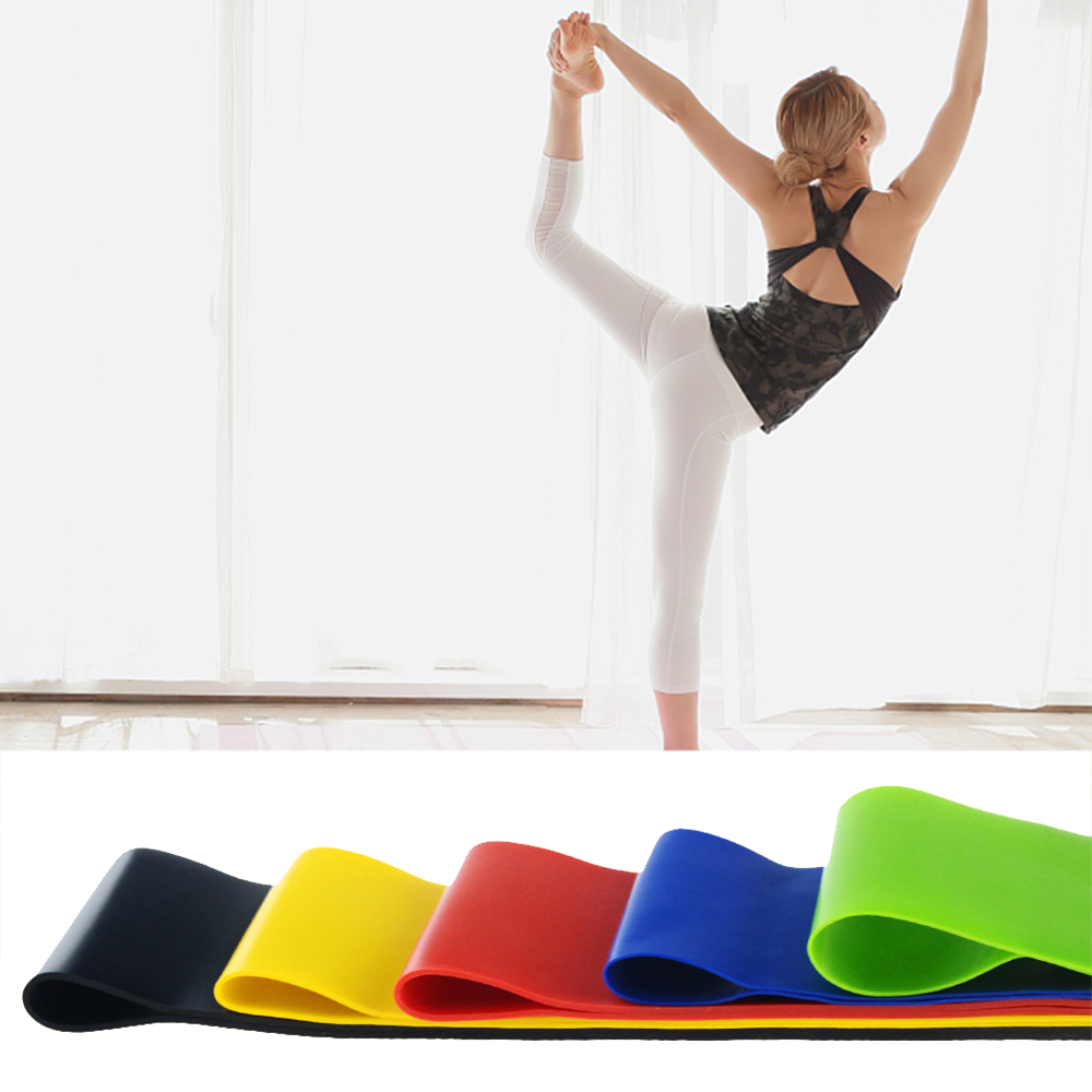 5 sizes  Indoor Yoga Fitness Equipment 0.35mm-1.1mm Outdoor Rubber Band Pilates Exercise Workout Rubber Band 1