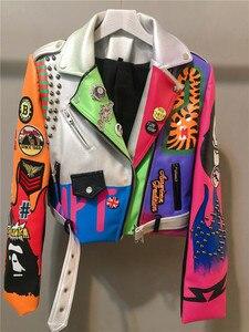 Женская осенне-Весенняя облегающая куртка из искусственной кожи в стиле Харадзюку, Байкерская короткая куртка из искусственной кожи с закл...
