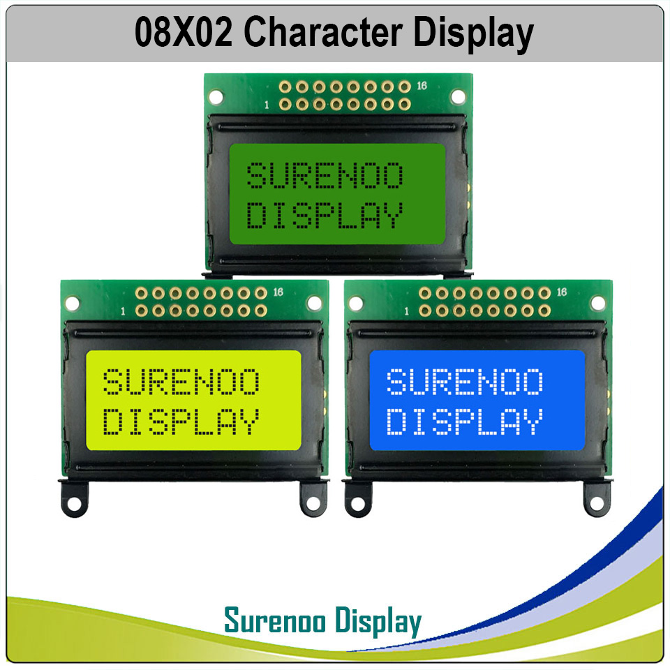 40*30MM 8*2 0802 8X2 Character LCD Module Display Screen LCM With / Without Backlight Build-in SPLC780D Controller