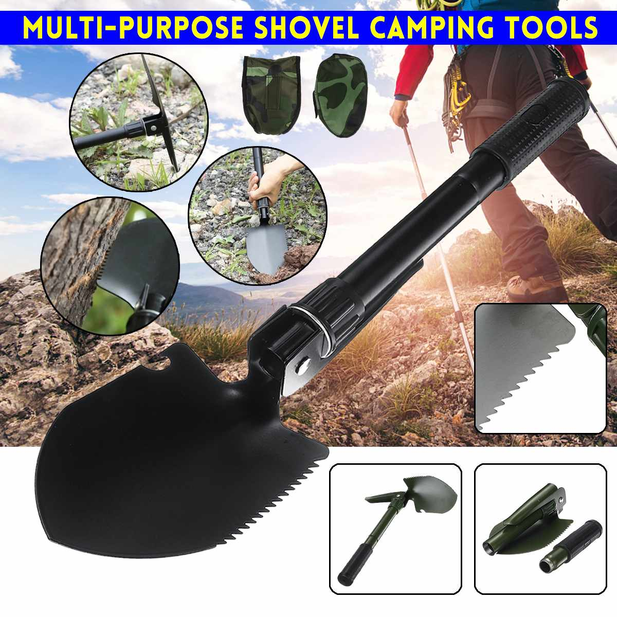 Multi-purpose Outdoor Shovel Garden Tools Folding Military Shovel Camping Defenses Security Tools