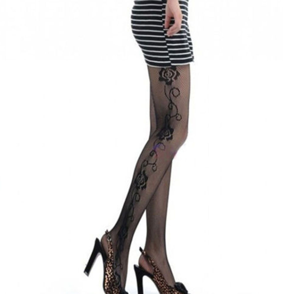 2019 New Hot Sexy Women Female Sexy Rose Side Pattern Fishnet Tights Mesh Pantyhose Stockings Nylons Shiny Tights