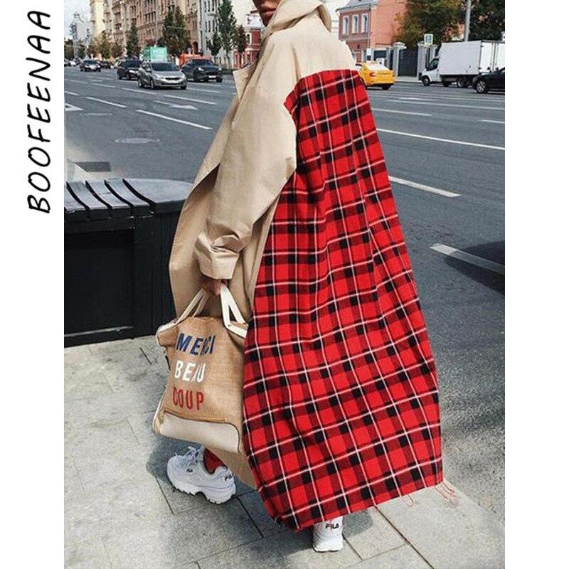 BOOFEENAA Red Plaid Khaki Long Trench Coat For Women Clothes Fall Winter 2019 Windbreaker Streetwear Jackets Coats C28-BA05