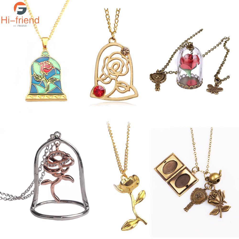 Pendant Cabochon Necklace Lover Gift Enchanted Rose Beauty and the Beast