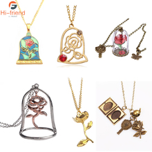 2017 Newest Design Beauty and the Beast Necklaces & Pendants  for Women Popular Movie Colorful Enamel Rose Flower Gargantilha
