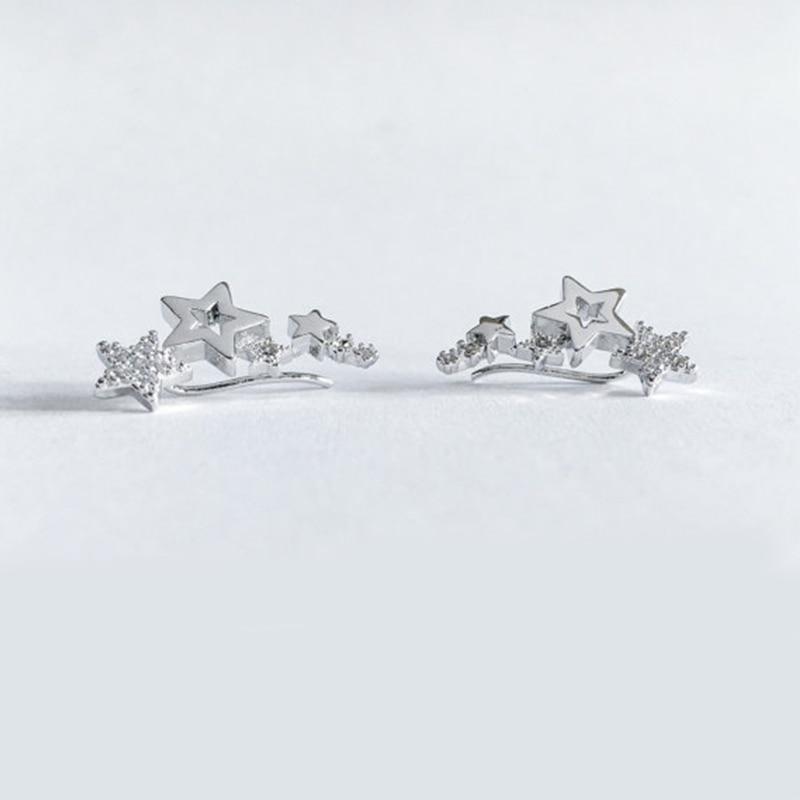Pendientes blanco brillante Zircón versátil pendiente joyería