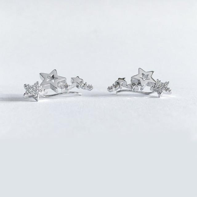 Huitan Hot Selling Simple Stylish Star Women Drop Earrings Shiny White Zircon Exquisite Versatile Female Earring Fashion Jewelry 5