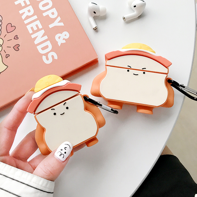 Airpods case cute bread looking sandwich Recipe 3D SOFT Silicone interesting funny food style protective cover case with hook image