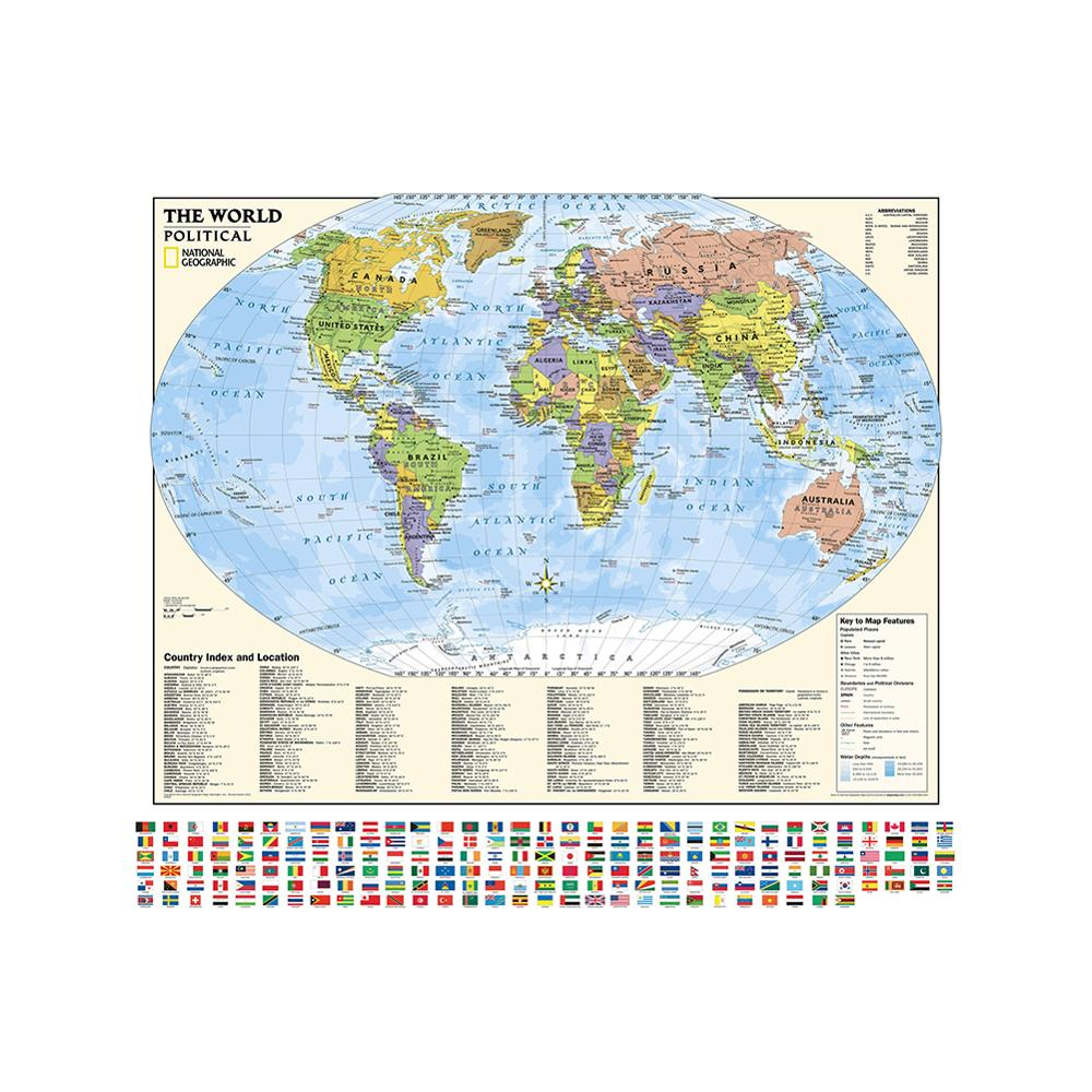 90x90cm Non-woven Spray Map With Country Index And Location Foldable World Map With Flag