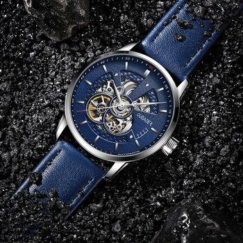 OUBAOER Mens Watches 2021 Mechanical Automatic Top Brand Luxury Tourbillon Self Winding Leather Sport  Wristwatch 5
