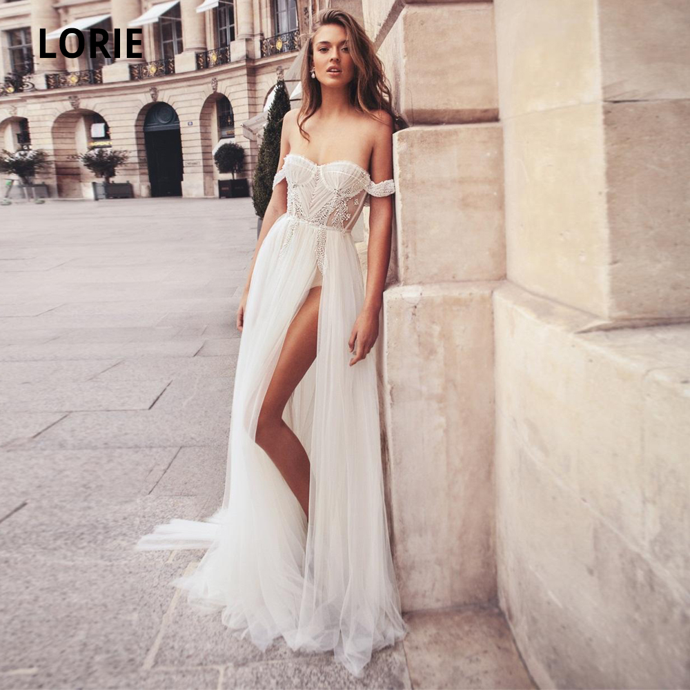 LORIE Off The Shoulder Sleeveless Wedding Dresses Boho 2020 Soft Tulle With Beaded Open Back Beach Bridal Gowns High Split