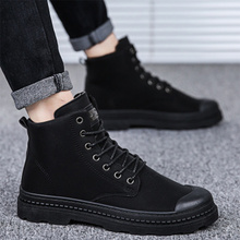 Men Boots Spring-Shoes Motorcycle-Boots Classic High-Top Black Outdoor Fashion Lace-Up