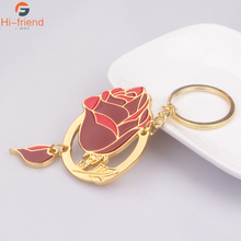 Newest Beauty and the Beast keychain Fahsion Gold Metal Alloy Enamel Rose Flower Llaveros Chaveiro