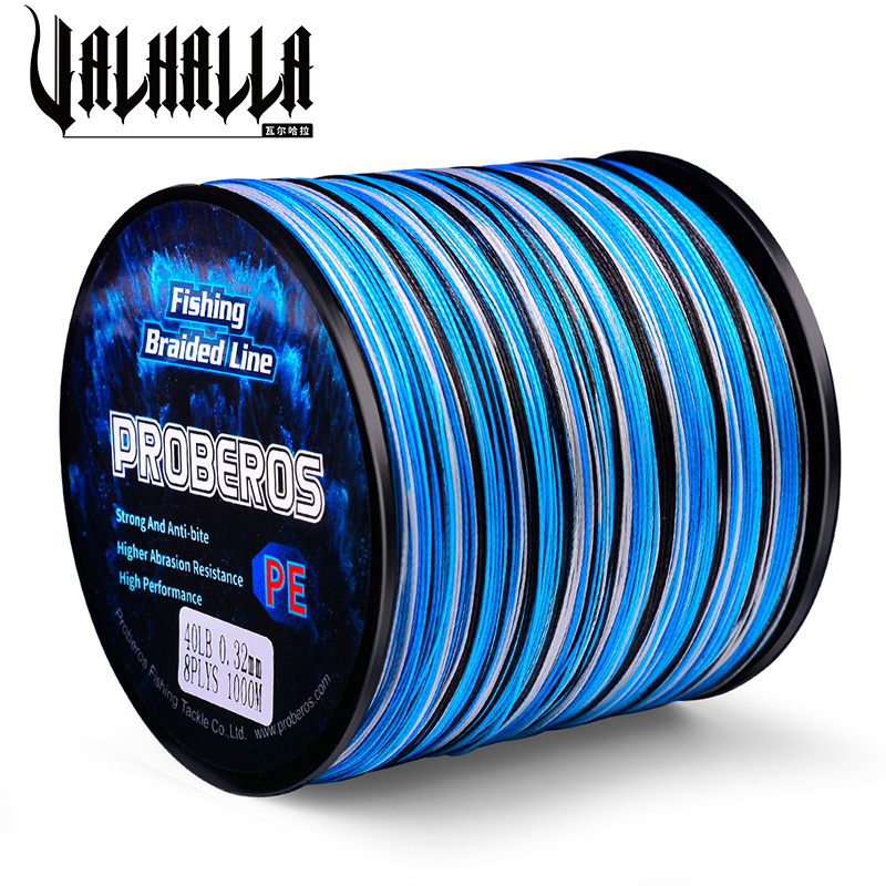 VALHALLA Fishing Line Wire 8/4 Strands Multifilament Weaves Fish Line 10LB-100LB  300M 500M 1000M 0.12mm-0.55mm PE Braided Line