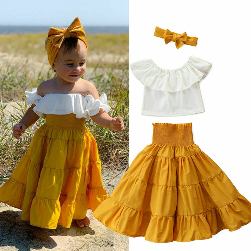 Fashion Kid Baby Girl Off Shoulder Ruffle Top High Waist Skirts Summer Clothes Boho Holiday Beach Clothing