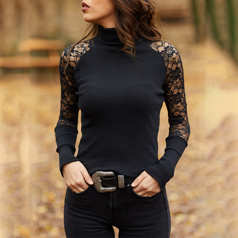 Spring and Autumn Women Knitted Turtleneck Sweater Casual Soft O neck Jumper Fashion Slim Lace Hollow Out Long Sleeves Clothes