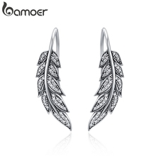BAMOER fashion 925 sterling silver vintage feather wings long earrings for women sterling silver fashion jewelry SCE215