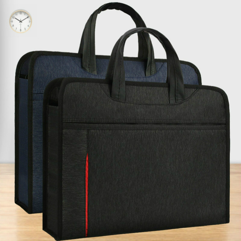 A4 Briefcase Laptop Case Document Bag Men Women Portable Business Conference Office Paper Organizer Zipper Large-capacity Folder