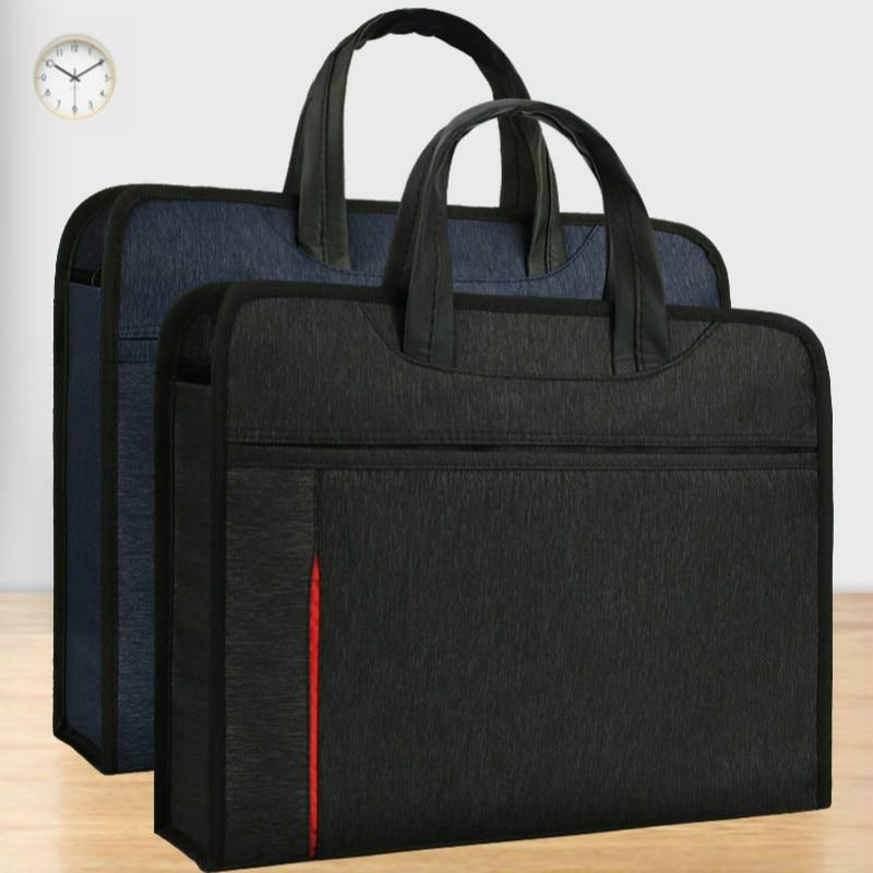 A4 Briefcase Laptop Case Document Bag Men Women Portable Business Conference Office Paper Organizer Zipper Large-capacity Folder