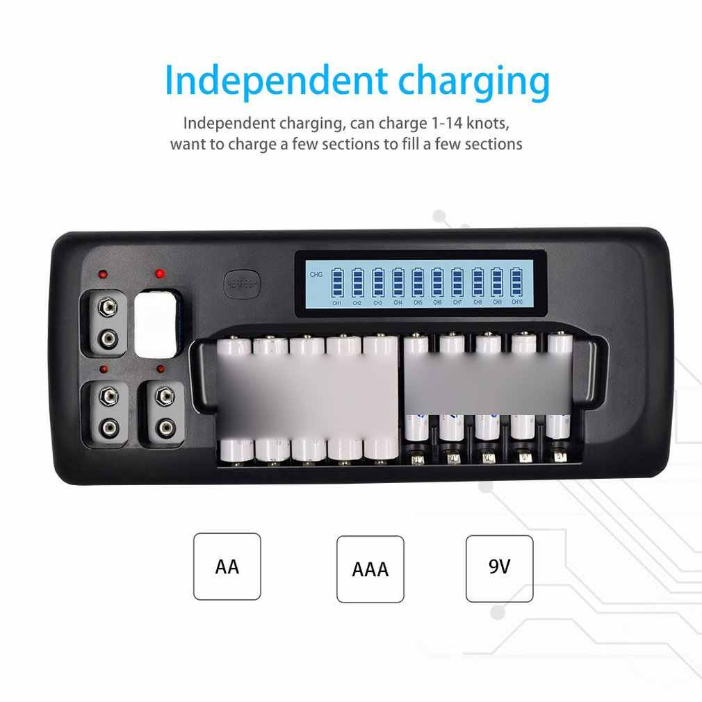 10-Slot Lcd умная перезаряжаемая зарядная батарея Ni-MH Aa/Aaa/9 V литиевая аккумуляторная Интеллектуальная батарея зарядное устройство
