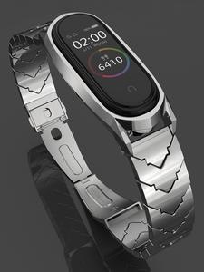 Mijobs Mi-Band Smart-Watch Metal Stainless-Steelbracelet 4-Strap Xiaomi for 4-Correa