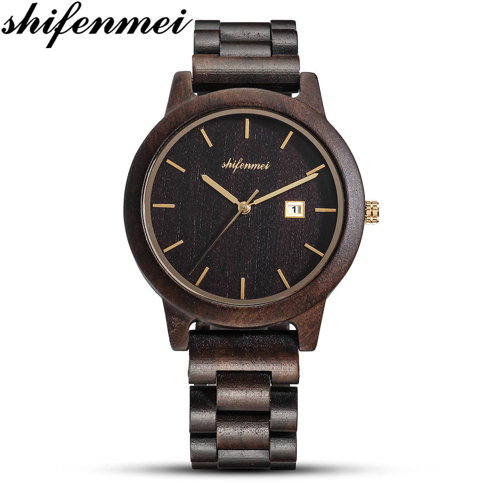 Shifenmei Men's Women's Wristwatch Wooden Business Casual Watches Day Holiday Gifts Wooden Center Quartz Watches Relojes Hombre