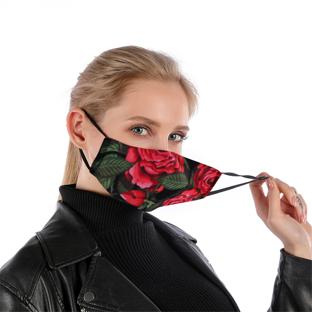 Cotton Floral Reusable Face mask With Filter Washable Mask Adjustable Straps Women Mouth Mask Flu Windproof Anti Mouth-muffle 1