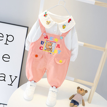 Infant Baby Girls Clothing Sets Cartoon T-shirt Overalls 2Pcs/set Toddler Outfit Kids Clothing Suits for 1-4 Years Baby Clothes 5pcs set newborn infant baby suits boys girls kids clothes sets tops pants bibs hats girl clothing set for baby girls outfit