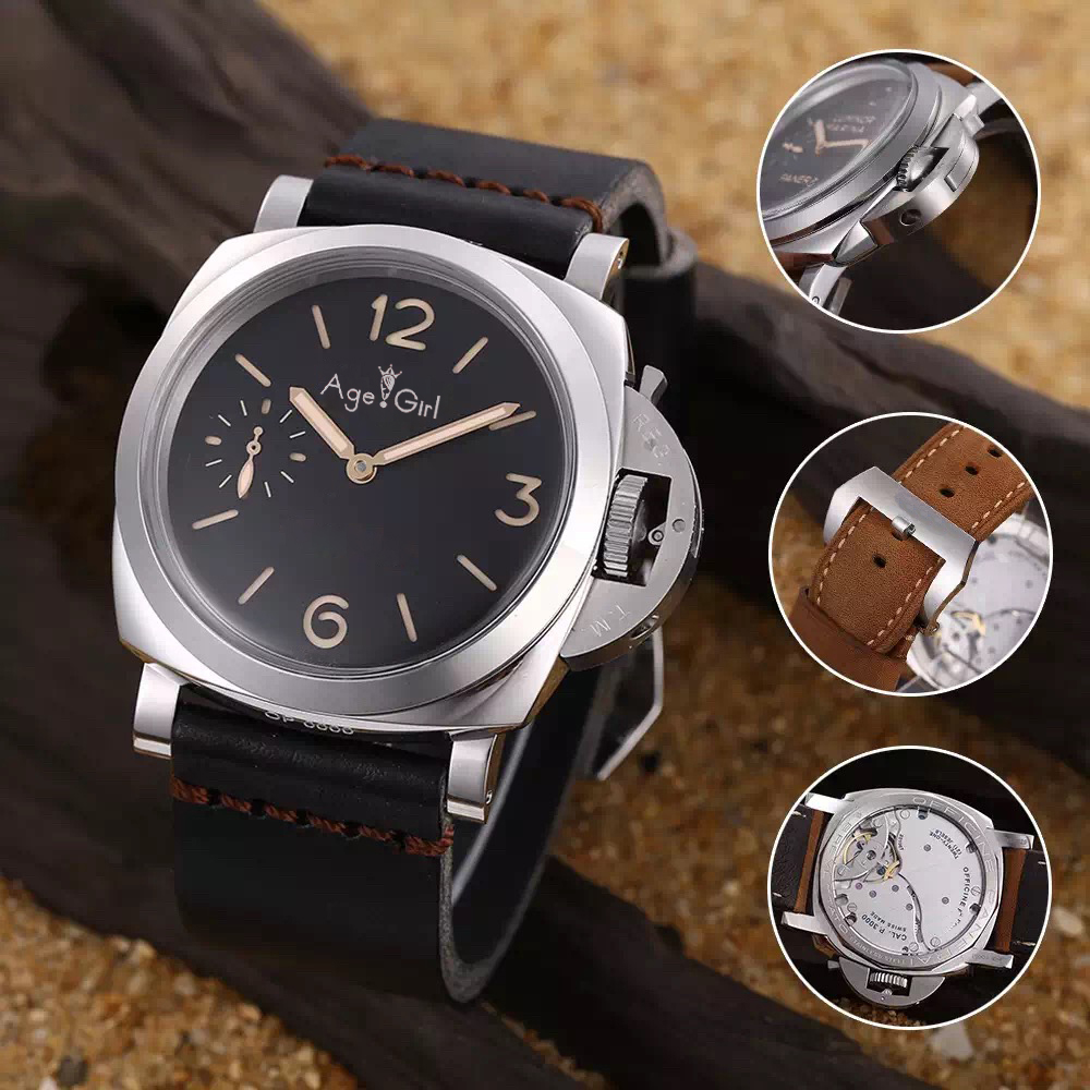 Luxury Brand New Men Automatic Mechanical Glass Back Stainless Steel Silver 1950 Watches 3 Days Black Leather Big Watch Luminous