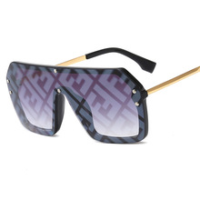 цена на Letter F Sunglasses New Conjoined Sunglasses European and American Big Frame Couple Sunglasses Sunglasses Motorcycle Goggles