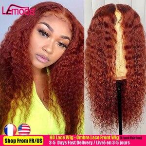 Вьющиеся парики из натуральных волос на кружевной эффектом деграде (переход от темного к оранжевый имбирь 13x1 глубокая волна Синтетические ...