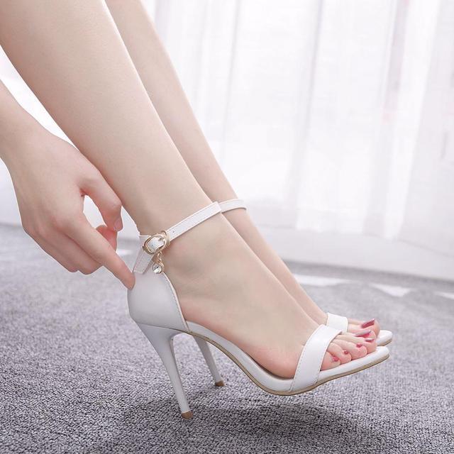 Sandálias de cristal queen, salto alto para mulheres, sapato de salto alto, tira, tornozelo, sexy, vestido de festa, branco, para escritório