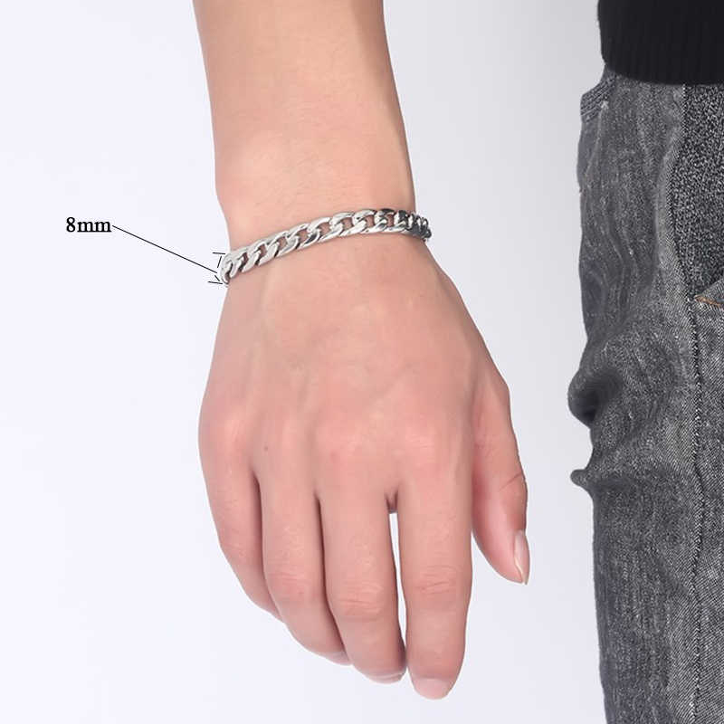 Oulai777 łańcuch na rękę męskie bransoletki ze stali nierdzewnej srebrny bransoletka męskie dodatki fasion biżuteria 2019 hurtownie proste