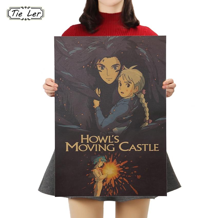 TIE LER Cartoon Anime Nostalgia Kraft Paper Poster Cafe Bar Poster Retro Wall Sticker Decorative Painting 50x35cm