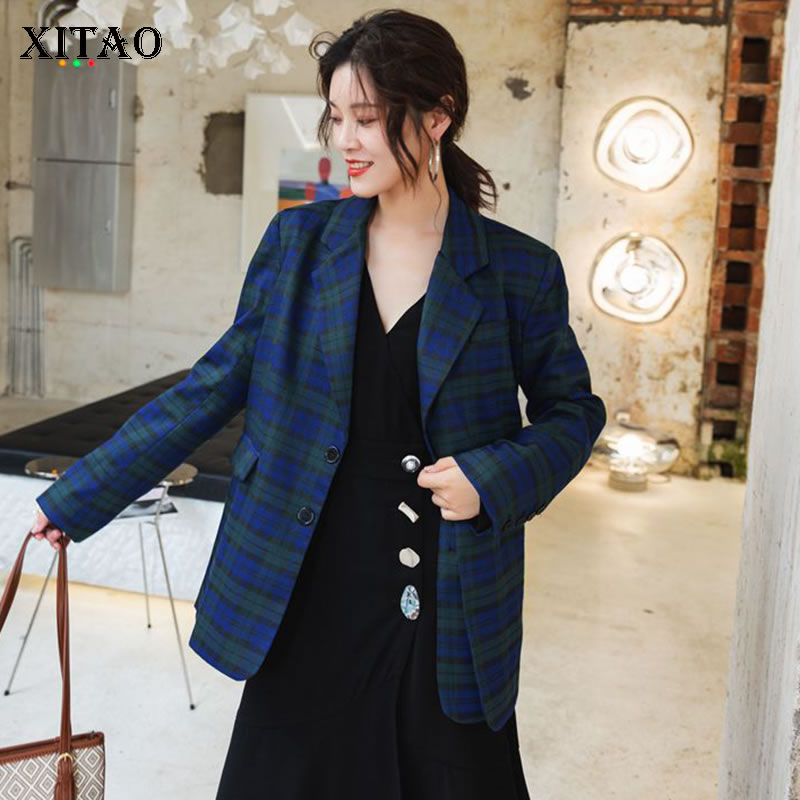 XITAO Slim Patchwork Plaid Blazer Women Clothes 2019 Fashion Loose Notched Collar Single Breasted Coat Top Autumn New WQR1886