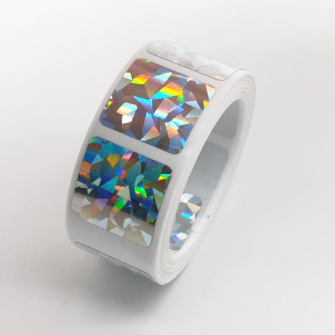 1000 pces riscar fora adesivos 20 20mm quadrado diamante laser cor metalico holograma jogo scratch