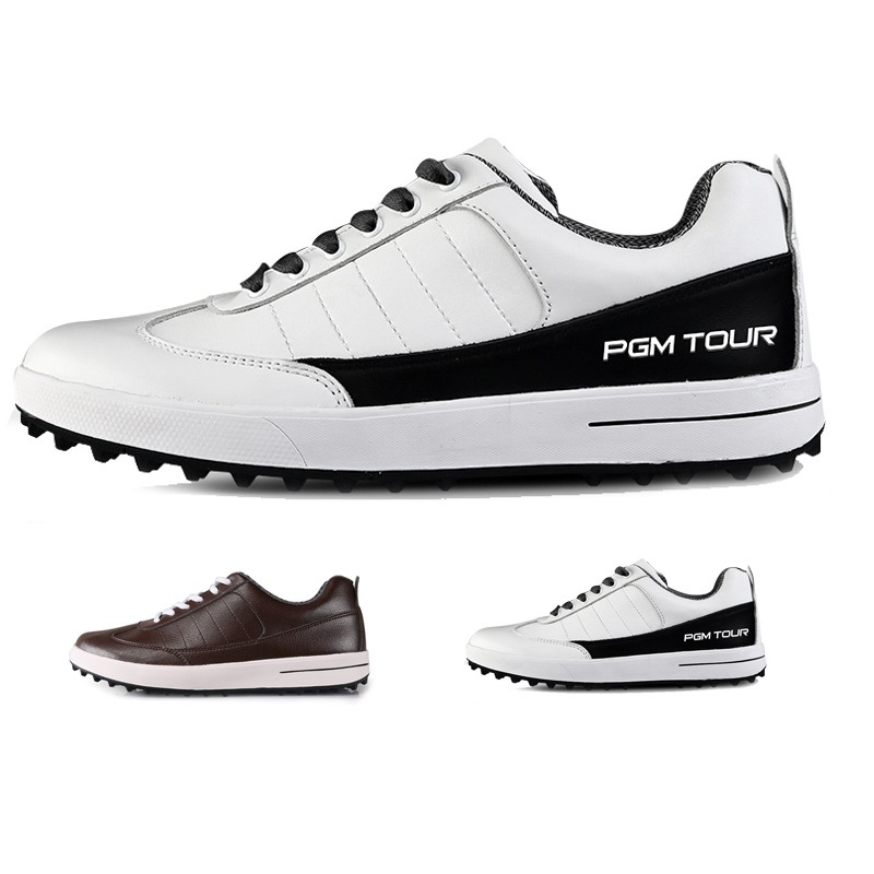 PGM Genuine Leather Golf Shoes Men Waterproof Outfoor Sports Sneakers Spikes Non-slip Breathable Golf Shoes