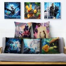 Anime How to Train Your Dragon Pillow Cover Beige Linen Cushion Covers Cute Dinosaur Print Pillowcase Sofa Home Decor Pillowcase