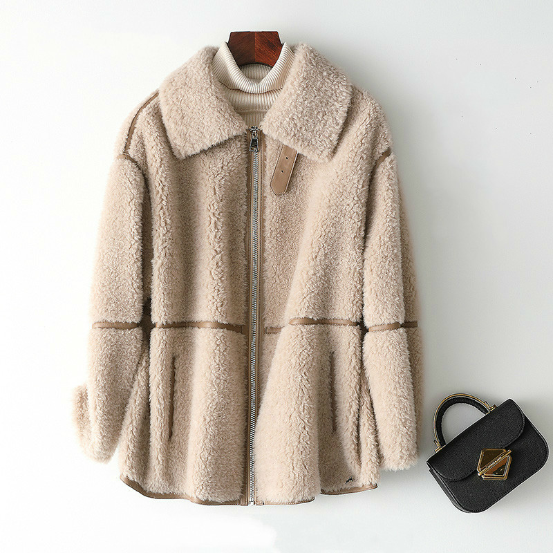 Real Fur Coat 100% Wool Jacket Autumn Winter Coat Women Clothes 2020 Korean Sheep Shearling Suede Lining Abrigo Mujer YS968615
