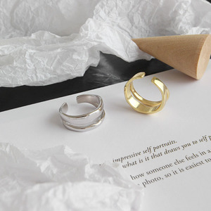 Image 2 - Bagues irrégulières en Argent Sterling coréen pour femmes, redimensionnables, bijou fait à la main, bijoux 925