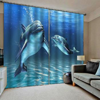 3D dolphin Window Curtains For Living room Bedroom Kids Children Room Curtain Drapes blue underwater world Blackout Drapes