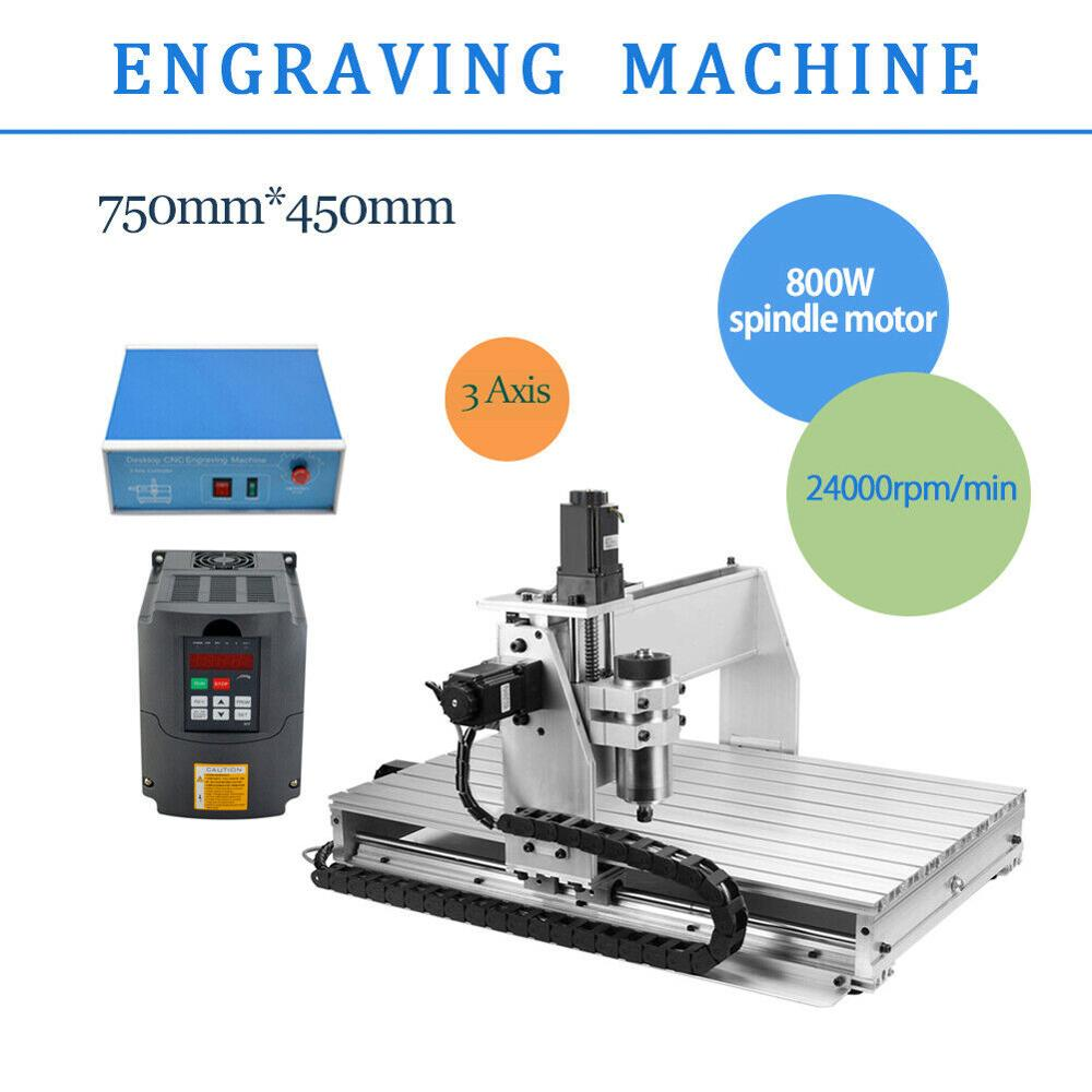 3 Axis 6040 800W Spindle Motor CNC Router Engraver Engraving Cutting Milling Drilling Machine 110V/220V