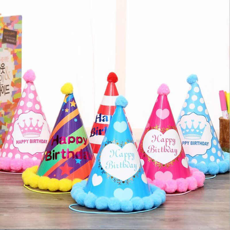 ใหม่มาถึง Happy Birthday Party หมวก DIY น่ารัก Handmade Dot Stripe หมวกเด็กใหม่ปีผู้ใหญ่ตกแต่งเด็กผู้หญิงของขวัญ