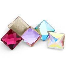 Необычные классические квадратные Разноцветные кристаллы Стразы