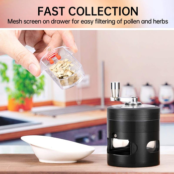 Hand-cranked Metal Vanilla Spice Grinder Smoke Mill 63mm With Drawer Side Window Home Daily Necessities Kitchen Accessories image