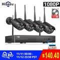 Hiseeu 8CH 1080P HD Outdoor IR Nacht Vision Video Überwachung 4 stücke Sicherheit IP Kamera 2MP WIFI CCTV System wireless NVR Kit HDD