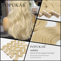 Popukar 2g/piece Body wave virgin Invisible PU Weft golden 613# 100% European Human Hair Real virgin tape in Hair Extensions