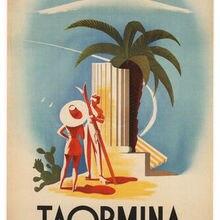 Póster de viaje VINTAGE Taormina sicinia Mario Puppo Italia 1952 pinturas al óleo lienzo impresiones arte de la pared para la decoración del dormitorio de la sala de estar