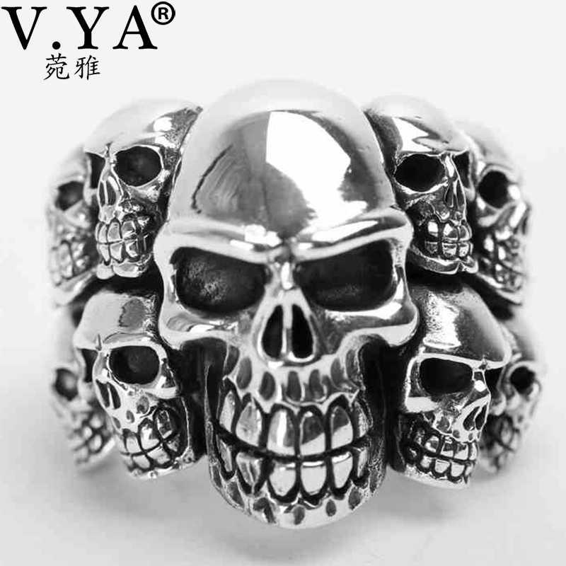 V. YA anillo de calavera de plata anillo de Plata de Ley 925 auténtica sólido para hombre y niño joyería Vintage Punk anillo de calavera locomotora